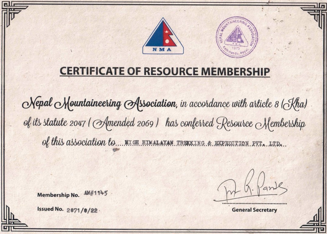 Membership Certificate of NMA